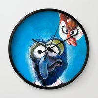 "muppet Wall Clocks featuring Gonzo and Camilla Muppet Painting ""Still a Better Love Story"" by Kristin Frenzel"