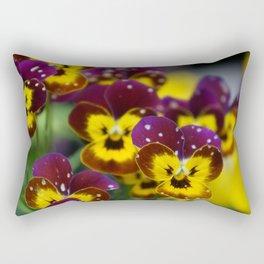 Polka Dotted Pansies Rectangular Pillow