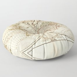 Mappemonde a l'usage du roy (World Map from 1720) Floor Pillow