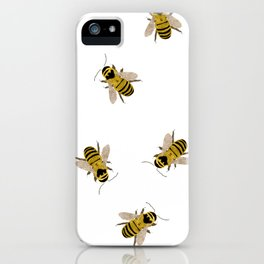 Honey Bees everywhere - Textured Illustration / Painting on white background iPhone Case