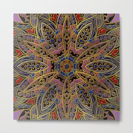 Mandala Gold Embossed on Faux Leather Metal Print