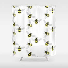 Fuzzy Bumblebees Shower Curtain
