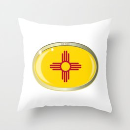 New Mexico State Flag Oval Button Throw Pillow