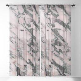 Blush Pink Black Marble Glam #1 #decor #art #society6 Sheer Curtain