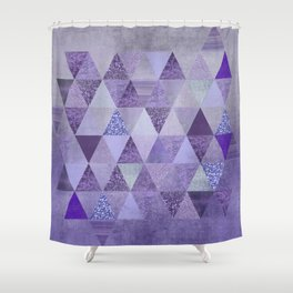 Glamorous Purple Faux Glitter And Foil Triangles Shower Curtain