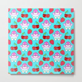Cute funny sweet adorable happy baby penguins, little cherries and red ripe summer strawberries cartoon fantasy bright pastel blue pattern design Metal Print