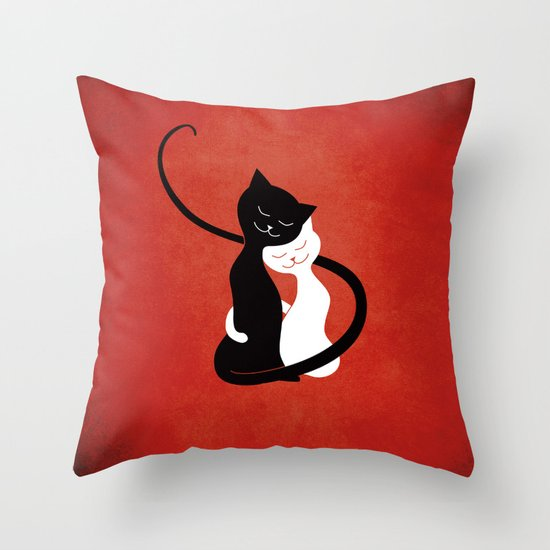 White And Black Cats In Love (red) Throw Pillow