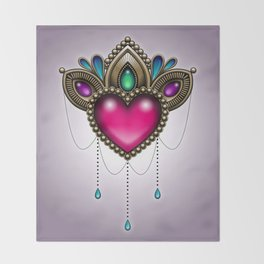 Heart of Stones - Victorian Tattoo Style Gems and Jewels Throw Blanket