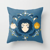 calcifer Throw Pillows featuring Howl by Ashley Hay