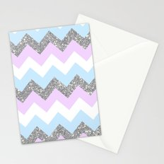 purple & teal glitter chevron Stationery Cards