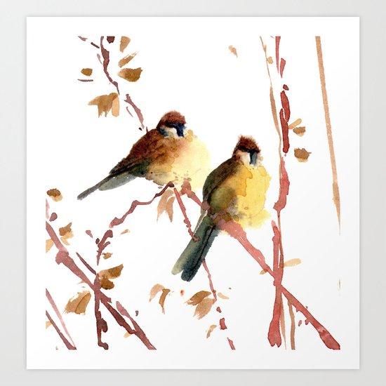 Sparrow couple Art Print