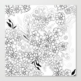 Succulents, black and white Canvas Print