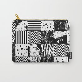 Eclectic Black and White Squares Carry-All Pouch