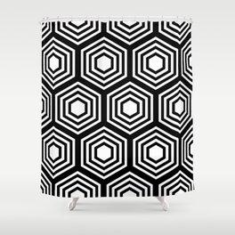 Monochrome Hex Shower Curtain