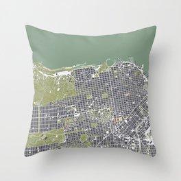 San Francisco city map engraving Throw Pillow