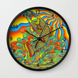 Psychedelic Rainbow Trout Fish Wall Clock