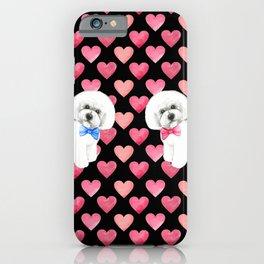 Bichon Frise Valentines Day Love Hearts iPhone Case
