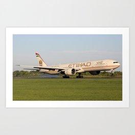 Etihad Boeing 777-300/ER Touchdown Art Print