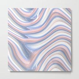 Rose Quartz Pink Serenity 3D Blue Waves Pattern Metal Print
