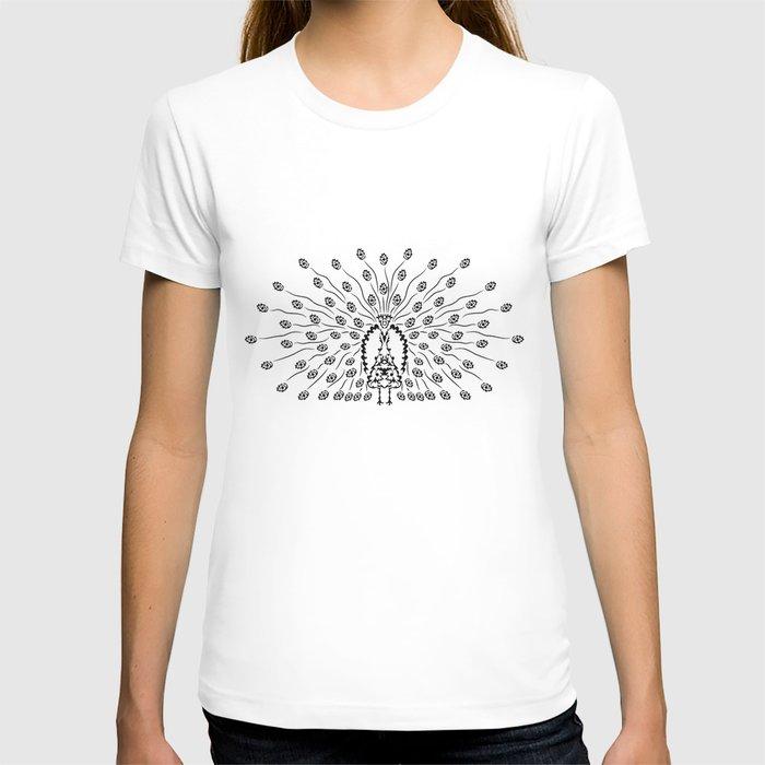 Decorative Black Peacock T-shirt