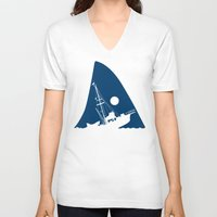 jaws V-neck T-shirts featuring Jaws by albertocubatas