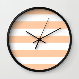 Deep peach - solid color - white stripes pattern Wall Clock