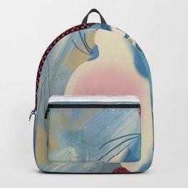 Little Red Headband Blue Haired Girl Backpack