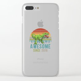 Awesome Since 2016 T-Rex Dinosaur 3. Year Birthday Clear iPhone Case