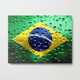 Flag of Brazil - Raindrops Metal Print