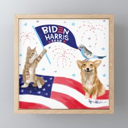 Biden Harris Animals Framed Mini Art Print