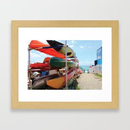 Kayaks in the Cinque Terre Framed Art Print