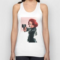 black widow Tank Tops featuring Black Widow by nachodraws
