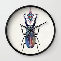 beetle Wall Clocks featuring beetle by Manoou