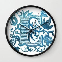 Letter E Antique Floral Letterpress Monogram Wall Clock