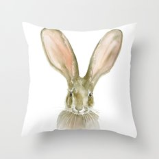 Jack Rabbit Watercolor Throw Pillow