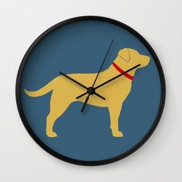 Yellow Labrador Retriever Dog Silhouette Wall Clock