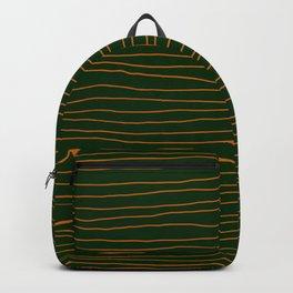 Hand Drawn Lines - Orange / Dark Green Backpack