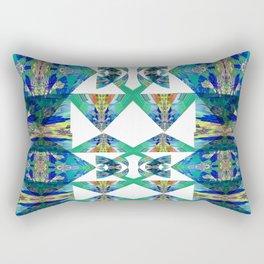 Diamond Geometric Intricate Beauty Green & Blue Rectangular Pillow