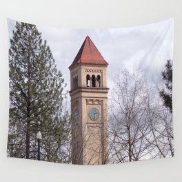 Beautiful Old Clock Tower In Spokane, Washington, Vintage Train Station Clock Tower Wall Tapestry