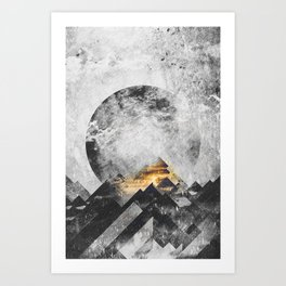 One mountain at a time - Black and white Art Print