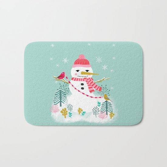 Holiday Snowman by Andrea Lauren  Bath Mat