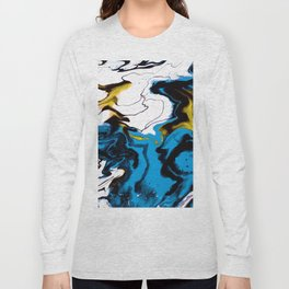 Dreamscape 01 in Blue, White & Gold Long Sleeve T-shirt