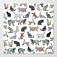 Cats shaped Marble - White Canvas Print