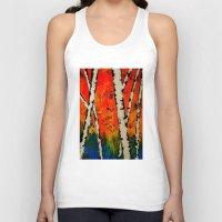 birch Tank Tops featuring Orange Birch  by BeachStudio