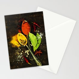 Bright spices on an old  wooden board Stationery Cards