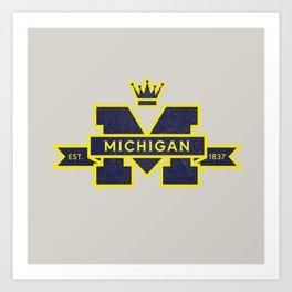 Michigan Block M Retro & Vintage Art Print