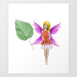 Catalpa Tree Fairy And Leaf Art Print