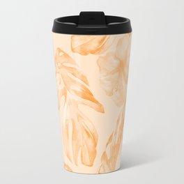 Island Vacation Hibiscus Palm Leaf Orange Travel Mug