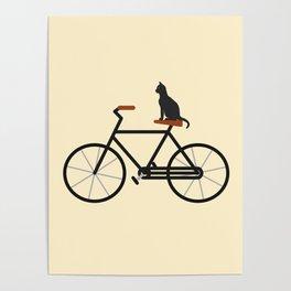 Cat Riding Bike Poster