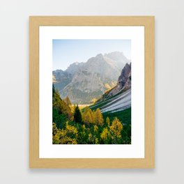 Sunrise in Dolomites mountains in autumn Framed Art Print